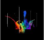 Tableau Polyptyque en 7 panneaux splash couleurs primaires