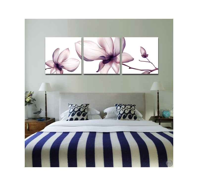 triptyque nature fleurs roses - artwall and co