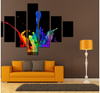 Tableau contemporain en 7 parties splash multicolore