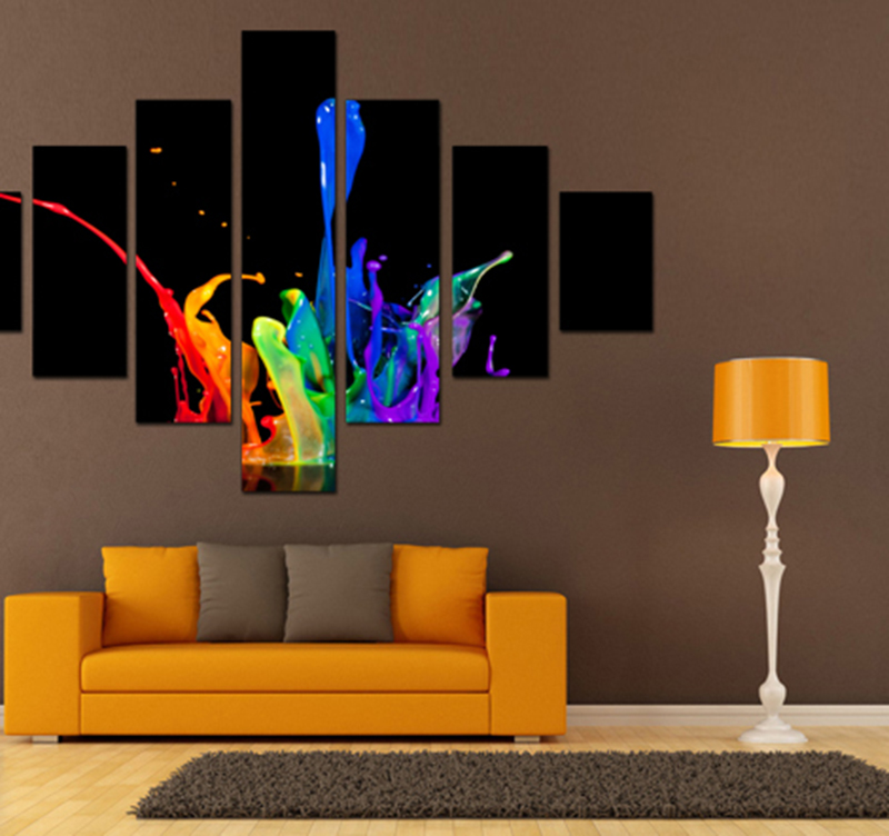 Tableau abstrait color splash - Tableau contemporain colore ...