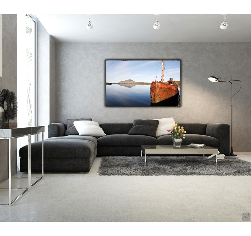 fire and ice on the sea tableau aluminium artwall and co. Black Bedroom Furniture Sets. Home Design Ideas