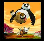 Tableau décoratif de kung fu panda dans des couleurs oranges