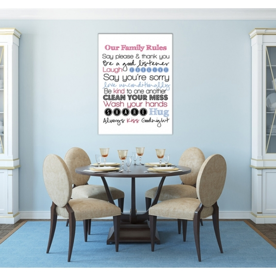 Family Rules Wall Canvas Art Print
