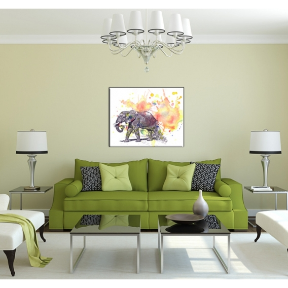 tableau animal el phant en pastel artwall and co. Black Bedroom Furniture Sets. Home Design Ideas