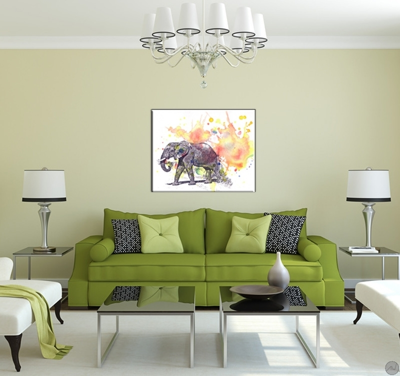 tableau animal el phant en pastel artwall and co. Black Bedroom Furniture Sets. Home Design Ideas