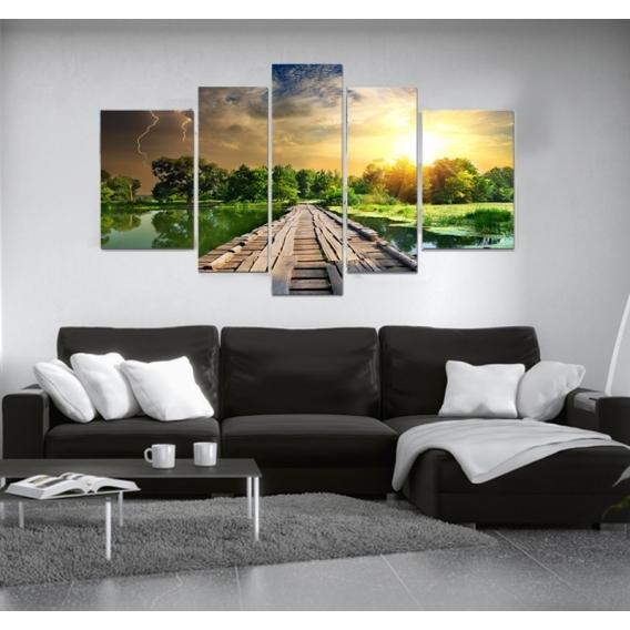 tableau paysage ponton dans la nature artwall and co. Black Bedroom Furniture Sets. Home Design Ideas