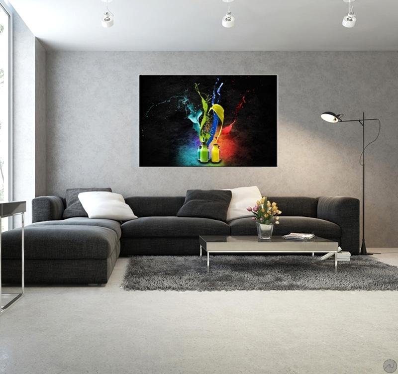 Tableau contemporain peinture de couleur artwall and co - Tableau colore design ...