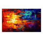 Abstract oil painting on canvas with blue and red colors