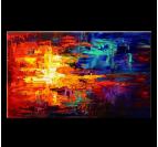 Tableau peinture design sur toile avec des couleurs rouges et bleues