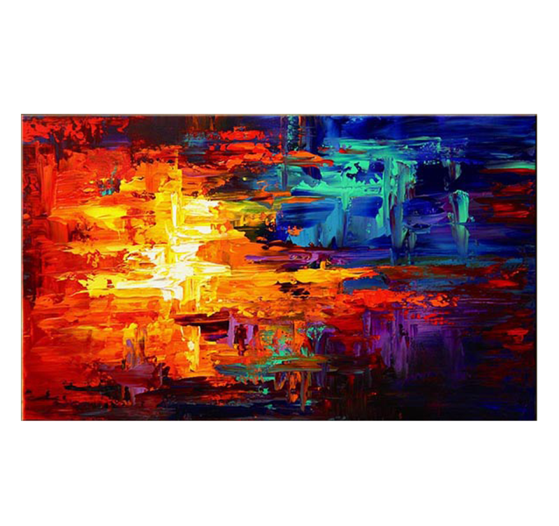 Fire and ice abstract painting artwall and co - Couleurs chaudes en peinture ...