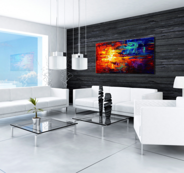 Fire and ice abstract oil painting on canvas for interior