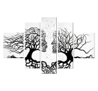 Kissing tree abstract painting in black and white