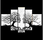 Toile peinture à la main abstraite d'arbres en blanc et noir