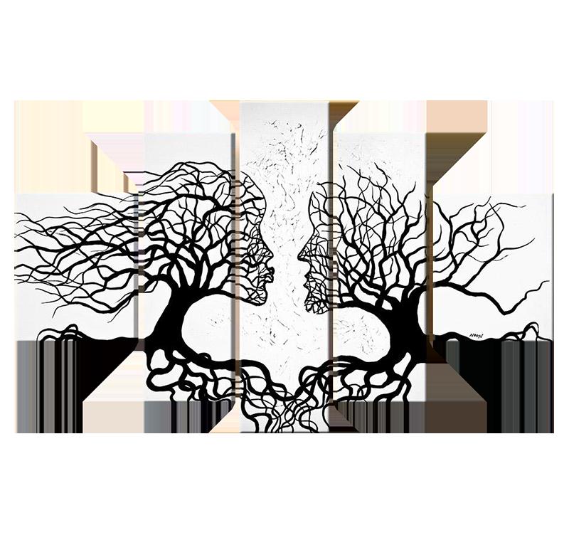 Tableau abstrait kissing trees for Tableau triptyque noir et blanc