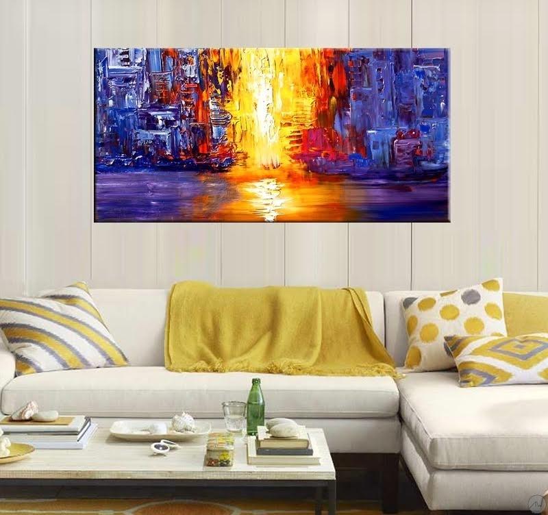 Peinture moderne rivi re de lave artwall and co - Cadre decoratif pour salon ...