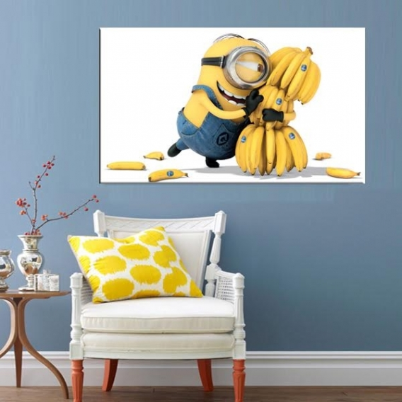 tableau deco minions banana artwall and co. Black Bedroom Furniture Sets. Home Design Ideas