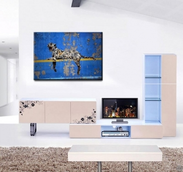 Banksy leopard wall decoration with blue color