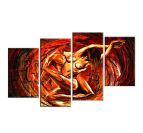 Design oil painting of lovers with red colors