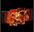 Tableau peinture mural love en rouge
