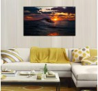 Wave at Sunset Landscape Canvas
