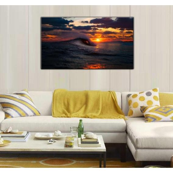 Wave at Sunset Landscape Canvas