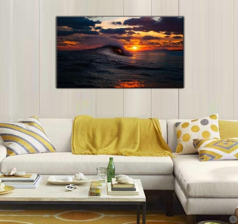 Tableau paysage vague au coucher de soleil