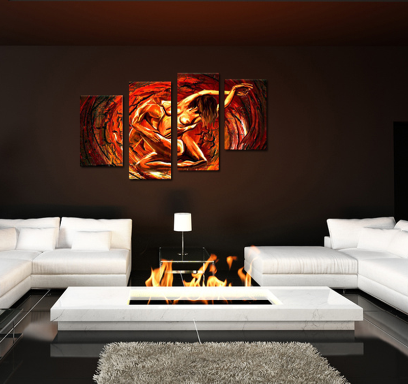 tableau contemporain love in hell. Black Bedroom Furniture Sets. Home Design Ideas