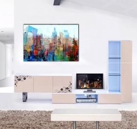 Tableau Pop Art Skyline Multicolore