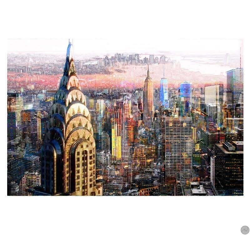 Landscape abstract picture new york horizon artwall and co - Grand tableau new york ...