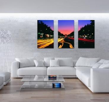 Paris Timelapse design canvas with 3 panels