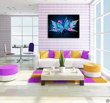 Tableau moderne papillons bleu pour une décoration d'enfant