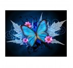 Tableau design de papillons avec des couleurs bleues et roses