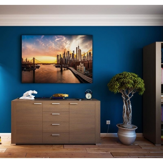 New York Urban Sunset Contemporary Canvas