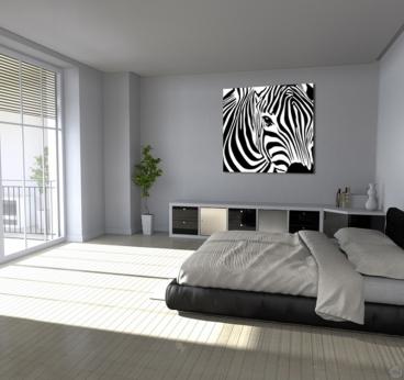 Tableau animal sur toile d'un zèbre sauvage pour votre déco murale