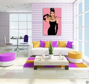 Tableau fashion diamant sur canapé de l'actrice Audrey Hepburn