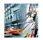 New York wall design canvas with yellow cabs and liberty statue