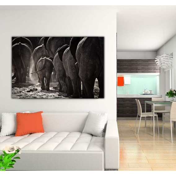 Tableau photo troupeau d 39 el phant artwall and co for Tableau tete d elephant