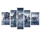 New-York Skyline polyptyque design canvas with blue color
