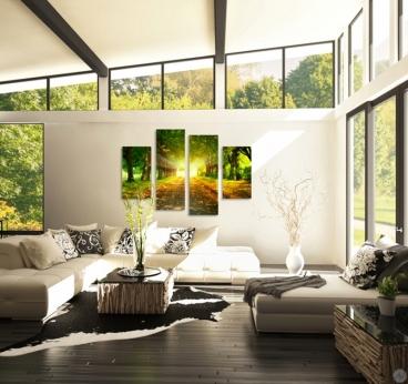 Tableau nature d'une allée plein d'arbres en décoration murale