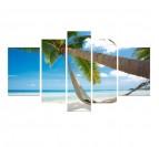 Bahamas palm landscape art with blue colors