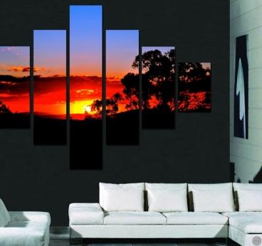 Tableau design d'un coucher de soleil dans une déco murale moderne