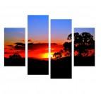 Tableau déco polyptyque d'un coucher de soleil aux couleurs orange et rouge