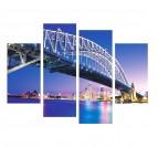 Tableau moderne polyptyque de Sydney de nuit avec du bleu