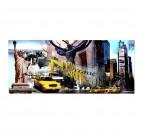 Tableau déco ville de New York avec la statue de la liberté et les taxis jaunes