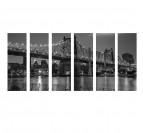 Tableau moderne polyptyque du Queensboro Bridge en noir et blanc
