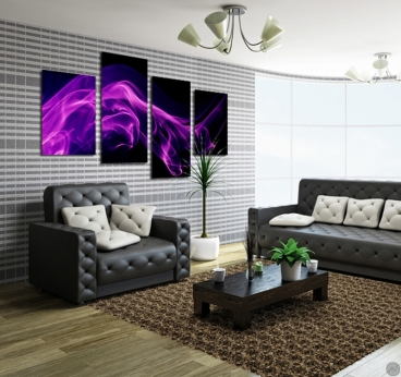 Violet Smoke design canvas in different panels for interior