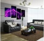 Tableau design en 4 panneaux d'une fumée violette pour une déco murale originale