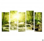 Sunny River polyptyque canvas with green colors