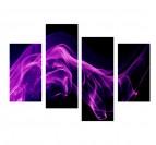 Tableau moderne fumée violette en plusieurs panneaux