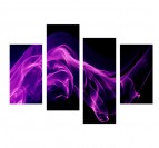 Violet Smoke modern canvas print in 4 panels